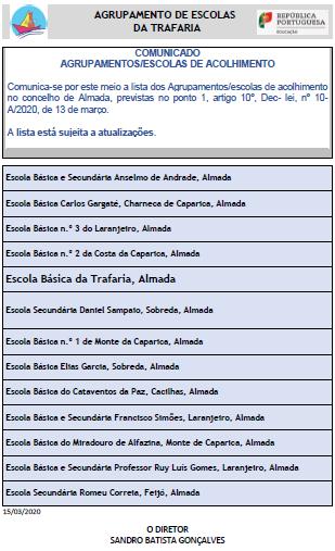 Comunicado – AGRUPAMENTOS/ESCOLAS DE ACOLHIMENTO