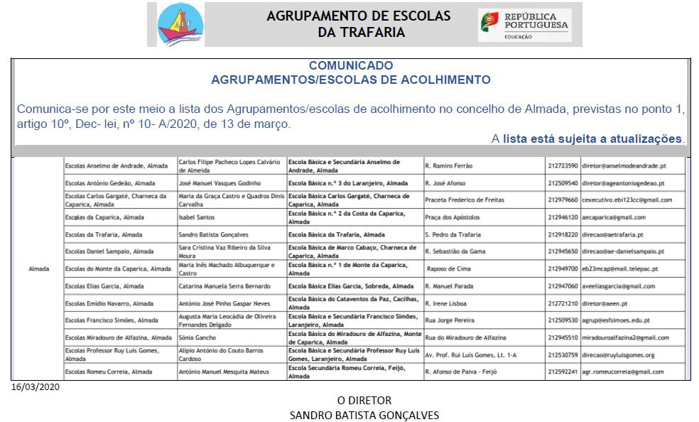 Nova Informação – AGRUPAMENTOS/ESCOLAS DE ACOLHIMENTO