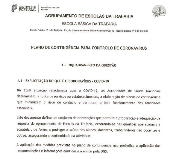 Plano de contingência para controlo de Coronavírus do AETrafaria