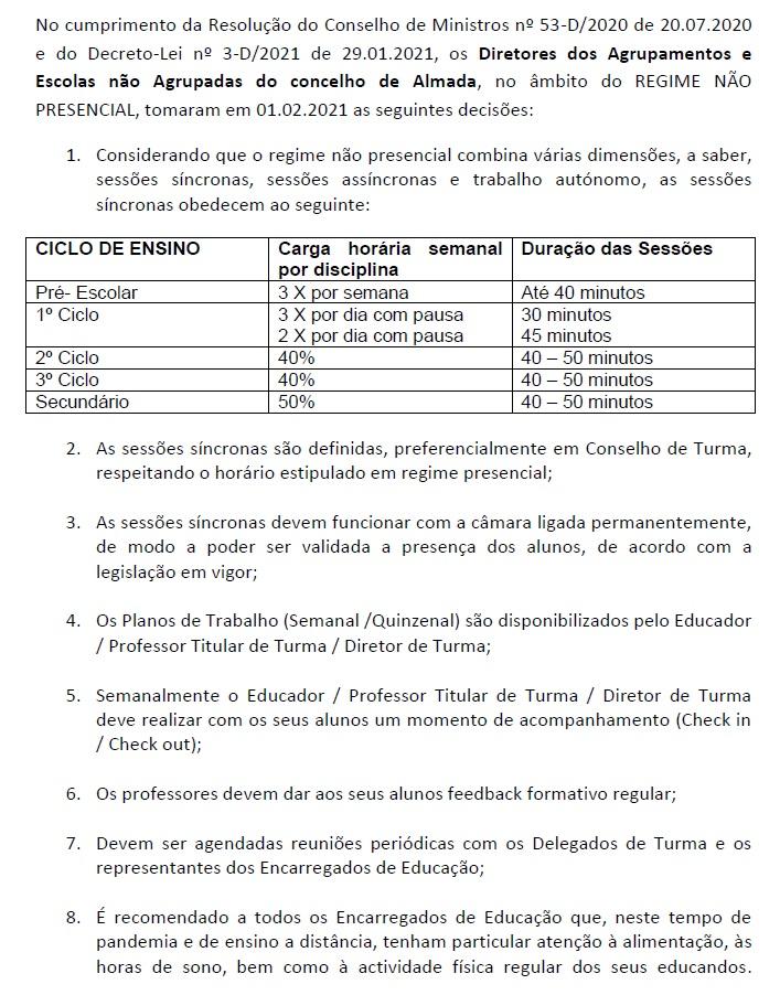 Acordo entre os Diretores dos Agrupamentos de Escolas/Escolas Não Agrupadas do concelho de Almada
